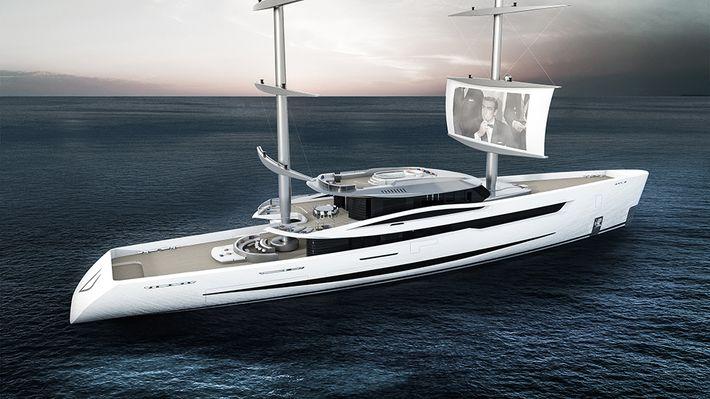 Egy olasz jacht, aminek a vitorláján filmeket nézhetsz
