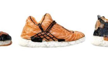 Sushiból készült ehető cipőkollekció