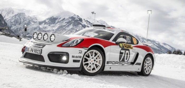 Porsche 718 Cayman GT4 Rallye birtokba veszi a jeges pályát